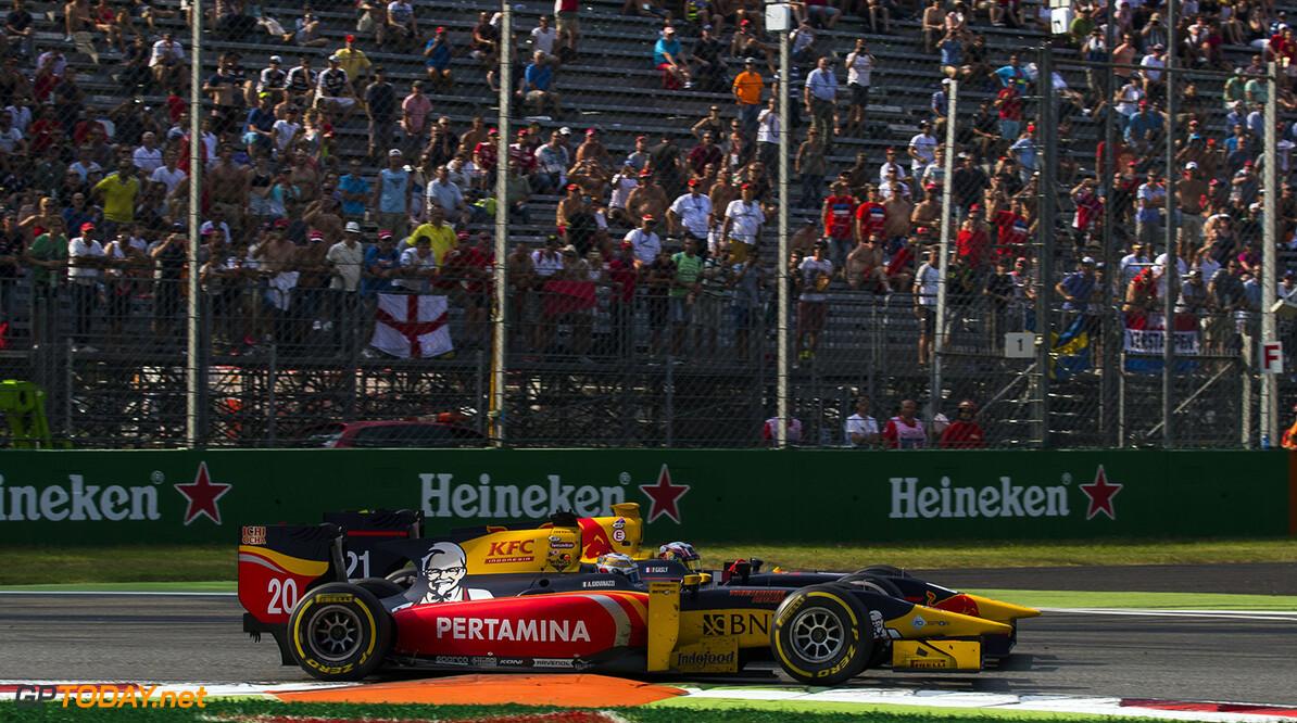 2016 GP2 Series Round 9 Autodromo di Monza, Italy. Saturday 3 September 2016. Antonio Giovinazzi (ITA, PREMA Racing) & Pierre Gasly (FRA, PREMA Racing)  Photo: Sam Bloxham/GP2 Series Media Service. ref: Digital Image _SLA7117  Sam Bloxham    Race One Feature action