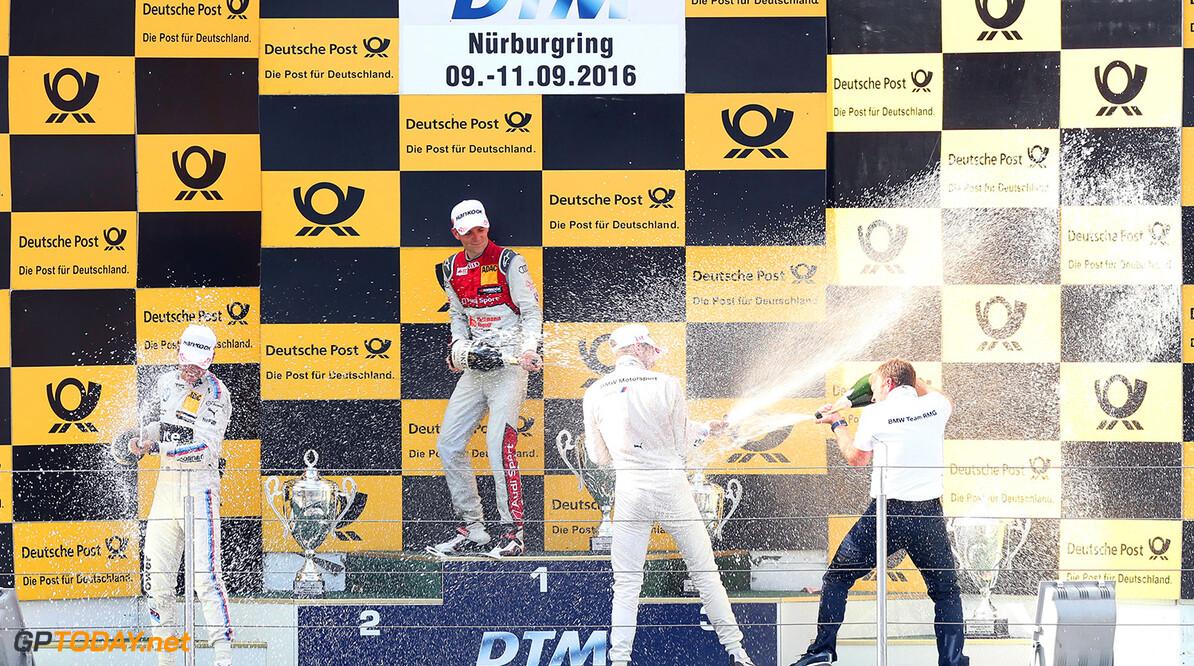 Motorsports: DTM race Nuerburgring, Saison 2016,  - 7. Event Nuerburgring, GER, #11 Marco Wittmann (GER, BMW Team RMG, BMW M4 DTM), #53 Jamie Green (GBR, Audi Sport Team Rosberg, Audi RS5 DTM), #31 Tom Blomqvist (GBR, BMW Team RBM, BMW M4 DTM) Motorsports: DTM race Nuerburgring Gruppe C GmbH Nuerburgring Germany  Akrapovic Emotionen Jubel Podium - VersandPartnerDTM Portrait Sieger VersandPartnerStandard Winner mood