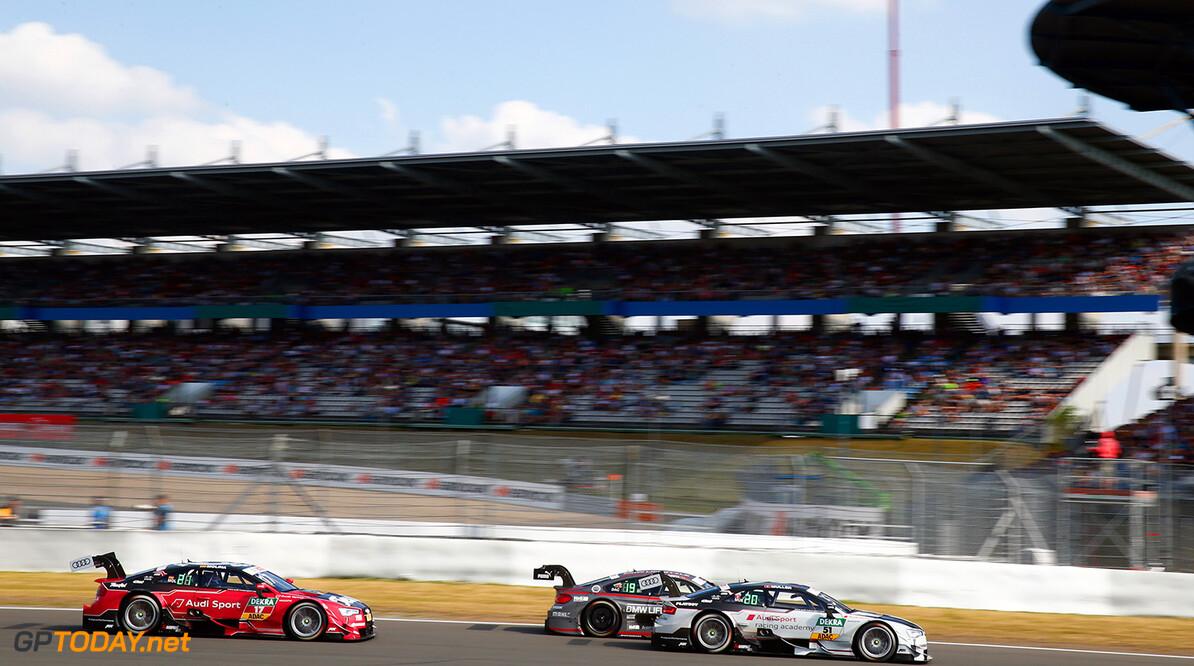 Motorsports: DTM race Nuerburgring, Saison 2016,  - 7. Event Nuerburgring, GER, #51 Nico M?ller (CH, Audi Sport Team Abt Sportsline, Audi RS5 DTM), #17 Miguel Molina (ESP, Audi Sport Team Abt Sportsline, Audi RS5 DTM) Motorsports: DTM race Nuerburgring Gruppe C GmbH Nuerburgring Germany  Aktion - action Aktionsbild Aktionsfoto Fahrbild Fahrszene - race action Rennen -VersandPartnerDTM VersandPartnerStandard