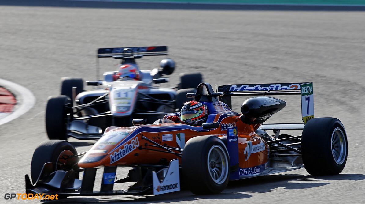FIA Formula 3 European Championship, round 8, race 1, N?rburgri 7 Mikkel Jensen (DEN, kfzteile24 M?cke Motorsport, Dallara F312 - Mercedes-Benz), 11 Nikita Mazepin (RUS, HitechGP, Dallara F312 - Mercedes-Benz), FIA Formula 3 European Championship, round 8, race 1, N?rburgring (DEU), 9. - 11. September 2016 FIA Formula 3 European Championship 2016, round 8, race 1, N?rburgring (DEU) Thomas Suer N?rburgring Germany