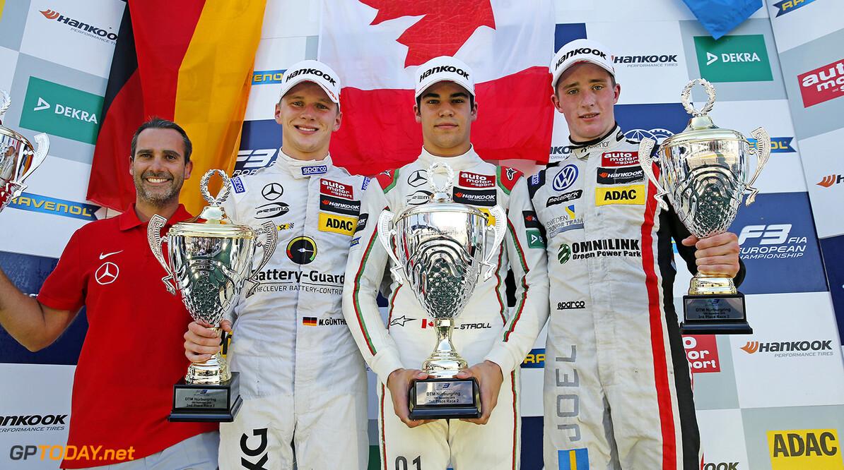 FIA Formula 3 European Championship, round 8, race 2, N?rburgri Prize giving ceremony, Nuno De Sousa Pinto (Driver Coach Prema Powerteam), 17 Maximilian G?nther (DEU, Prema Powerteam, Dallara F312 - Mercedes-Benz), 1 Lance Stroll (CAN, Prema Powerteam, Dallara F312 - Mercedes-Benz), 22 Joel Eriksson (SWE, Motopark, Dallara F312 - Volkswagen), FIA Formula 3 European Championship, round 8, race 2, N?rburgring (DEU), 9. - 11. September 2016 FIA Formula 3 European Championship 2016, round 8, race 2, N?rburgring (DEU) Thomas Suer N?rburgring Germany