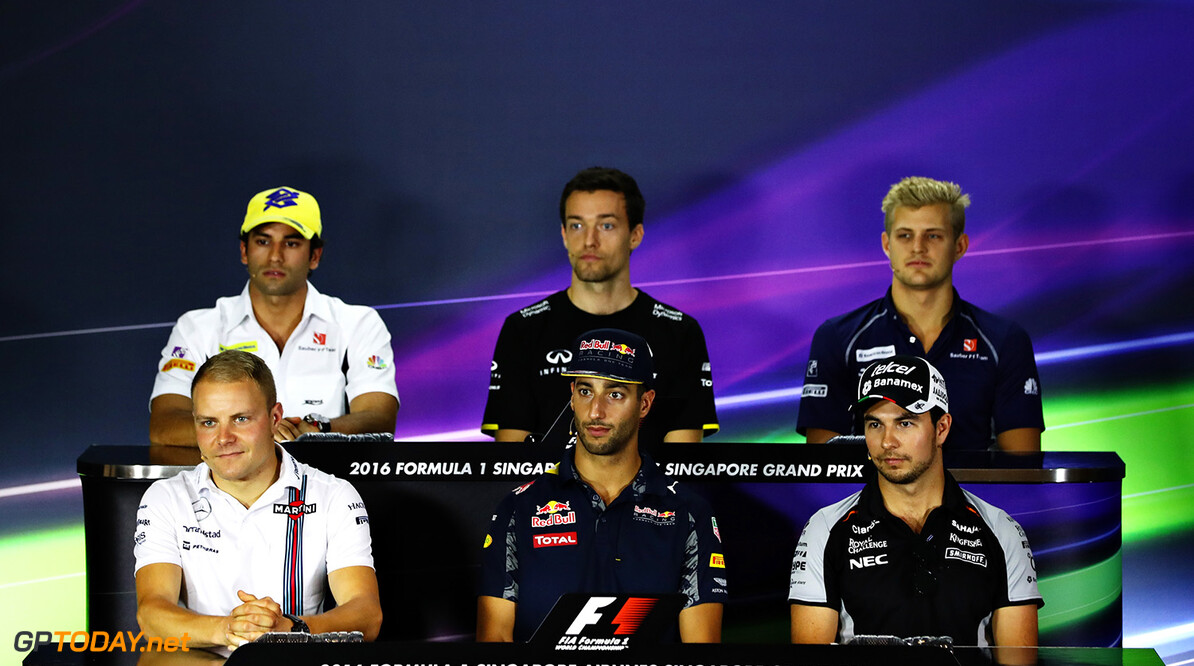 SINGAPORE - SEPTEMBER 15:  (back row l-r) Felipe Nasr of Brazil and Sauber F1, Jolyon Palmer of Great Britain and Renault Sport F1, Marcus Ericsson of Sweden and Sauber F1, (front row l-r) Valtteri Bottas of Finland and Williams, Daniel Ricciardo of Australia and Red Bull Racing and Sergio Perez of Mexico and Force India in the Drivers Press Conference during previews ahead of the Formula One Grand Prix of Singapore at Marina Bay Street Circuit on September 15, 2016 in Singapore.  (Photo by Lars Baron/Getty Images) // Getty Images / Red Bull Content Pool  // P-20160915-00383 // Usage for editorial use only // Please go to www.redbullcontentpool.com for further information. //  F1 Grand Prix of Singapore - Previews Lars Baron Singapore Singapore  P-20160915-00383
