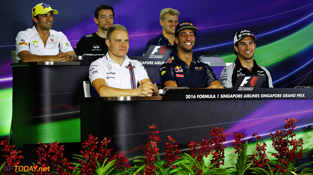 SINGAPORE - SEPTEMBER 15:  (back row l-r) Felipe Nasr of Brazil and Sauber F1, Jolyon Palmer of Great Britain and Renault Sport F1, Marcus Ericsson of Sweden and Sauber F1, (front row l-r) Valtteri Bottas of Finland and Williams, Daniel Ricciardo of Australia and Red Bull Racing and Sergio Perez of Mexico and Force India in the Drivers Press Conference during previews ahead of the Formula One Grand Prix of Singapore at Marina Bay Street Circuit on September 15, 2016 in Singapore.  (Photo by Lars Baron/Getty Images) // Getty Images / Red Bull Content Pool  // P-20160915-00389 // Usage for editorial use only // Please go to www.redbullcontentpool.com for further information. //  F1 Grand Prix of Singapore - Previews Lars Baron Singapore Singapore  P-20160915-00389
