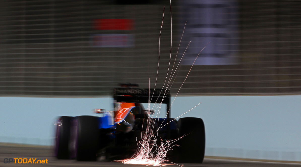 Formula One World Championship Esteban Ocon (FRA) Manor Racing MRT05 sends sparks flying. 16.09.2016. Formula 1 World Championship, Rd 15, Singapore Grand Prix, Marina Bay Street Circuit, Singapore, Practice Day. Motor Racing - Formula One World Championship - Singapore Grand Prix - Practice Day - Singapore, Singapore Manor Racing Singapore Singapore  Formel1 Formel F1 Formula 1 Formula1 GP Grand Prix one Marina Bay Street Circuit September Singapore Friday 16 9 09 2016 Action Track