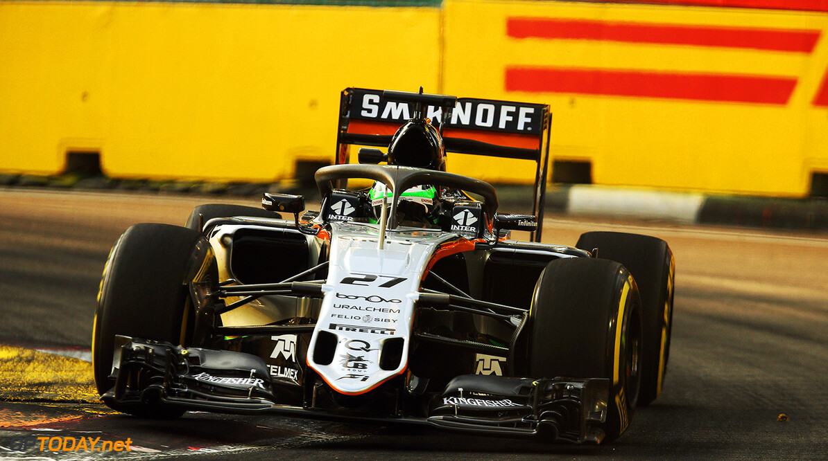 Formula One World Championship Nico Hulkenberg (GER) Sahara Force India F1 VJM09 with the Halo cockpit cover. Singapore Grand Prix, Friday 16th September 2016. Marina Bay Street Circuit, Singapore. Motor Racing - Formula One World Championship - Singapore Grand Prix - Practice Day - Singapore, Singapore James Moy Photography Singapore Singapore  Formula One Formula 1 F1 GP Grand Prix Circuit Marina Bay Street Circuit Singapore JM624 Technical Detail Hulkenberg H?lkenberg Huelkenberg Action Track GP1615b