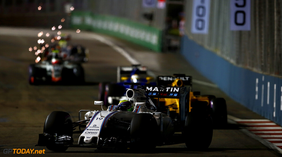 Marina Bay Circuit, Marina Bay, Singapore. Sunday 18 September 2016. Felipe Massa, Williams FW38 Mercedes. Photo: Andrew Hone/Williams ref: Digital Image _ONZ0501      Action