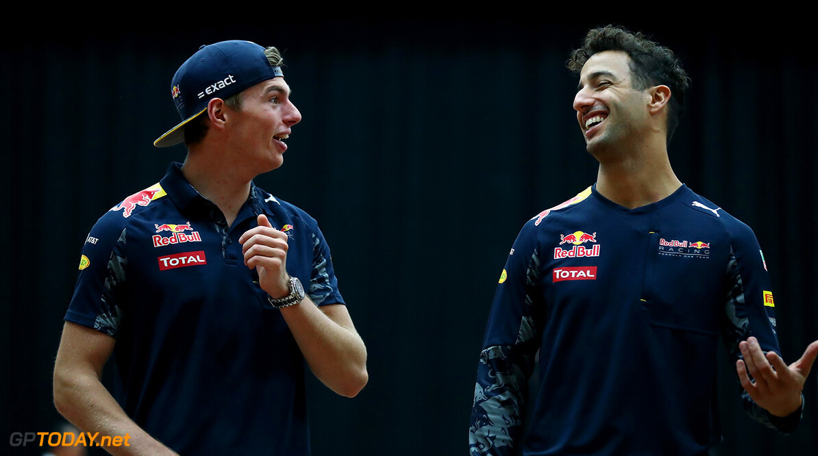 PUCHONG, MALAYSIA - SEPTEMBER 28:  Daniel Ricciardo of Australia and Red Bull Racing and Max Verstappen of Netherlands and Red Bull Racing play Malaysian sport sepak takraw at the iM4U Sentral in Puchong during previews for the Malaysia Formula One Grand Prix at Sepang Circuit on September 28, 2016 in Kuala Lumpur, Malaysia.  (Photo by Clive Rose/Getty Images) // Getty Images / Red Bull Content Pool  // P-20160928-05764 // Usage for editorial use only // Please go to www.redbullcontentpool.com for further information. //  F1 Grand Prix of Malaysia - Previews Clive Rose Kuala Lumpur Malaysia  P-20160928-05764