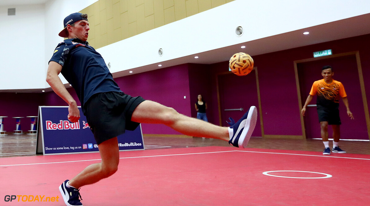 PUCHONG, MALAYSIA - SEPTEMBER 28:  Max Verstappen of Netherlands and Red Bull Racing plays Malaysian sport sepak takraw at the iM4U Sentral in Puchong during previews for the Malaysia Formula One Grand Prix at Sepang Circuit on September 28, 2016 in Kuala Lumpur, Malaysia.  (Photo by Clive Rose/Getty Images) // Getty Images / Red Bull Content Pool  // P-20160928-05736 // Usage for editorial use only // Please go to www.redbullcontentpool.com for further information. //  F1 Grand Prix of Malaysia - Previews Clive Rose Kuala Lumpur Malaysia  P-20160928-05736
