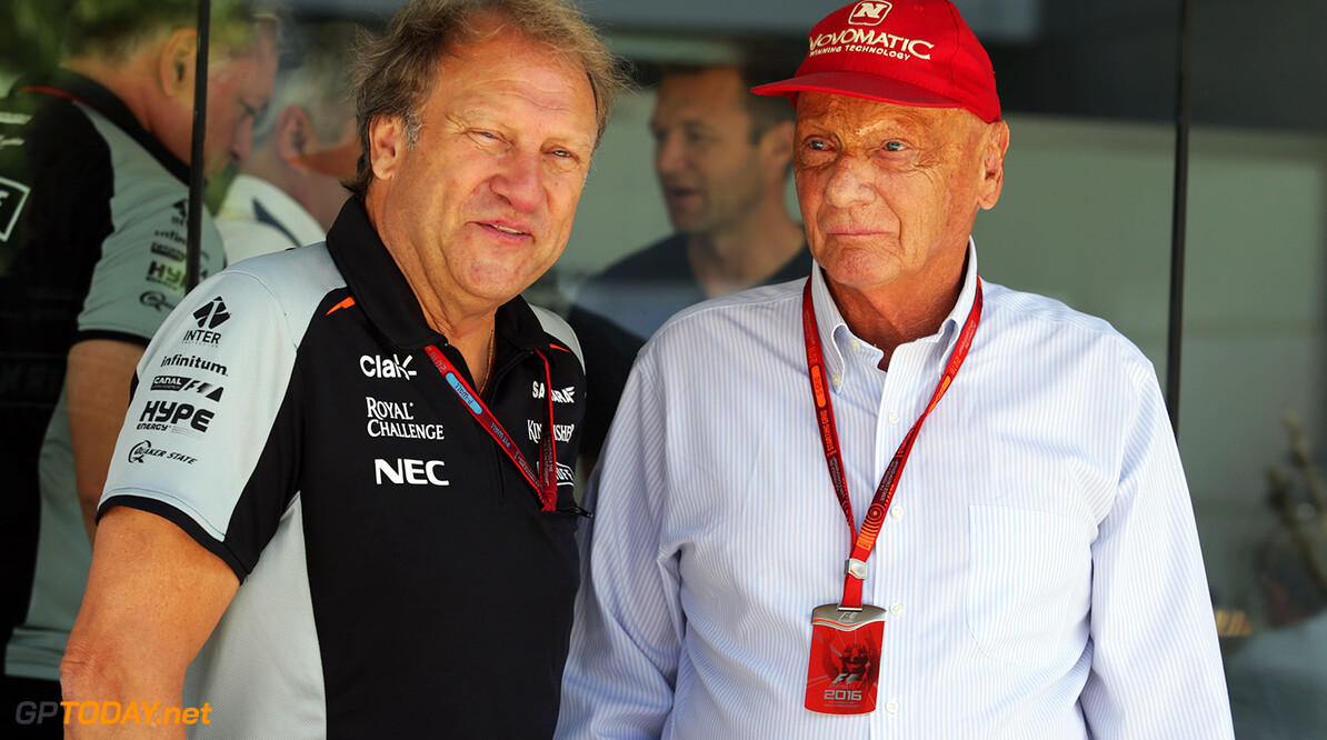 Formula One World Championship (L to R): Robert Fernley (GBR) Sahara Force India F1 Team Deputy Team Principal with Niki Lauda (AUT) Mercedes Non-Executive Chairman. Malaysian Grand Prix, Saturday 2nd October 2016. Sepang, Kuala Lumpur, Malaysia. Motor Racing - Formula One World Championship - Malaysian Grand Prix - Race Day - Sepang, Malaysia James Moy Photography Sepang Malaysia  Formula One Formula 1 F1 GP Grand Prix Kuala Lumpur Sepang Malaysia Malaysian JM632 Portrait GP1616d