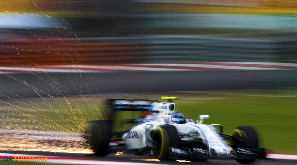 Sepang International Circuit, Sepang, Malaysia. Saturday 1 October 2016. Sparks fly from the car of Valtteri Bottas, Williams FW38 Mercedes. Photo: Sam Bloxham/Williams ref: Digital Image _SBB5776  Sam Bloxham    Action