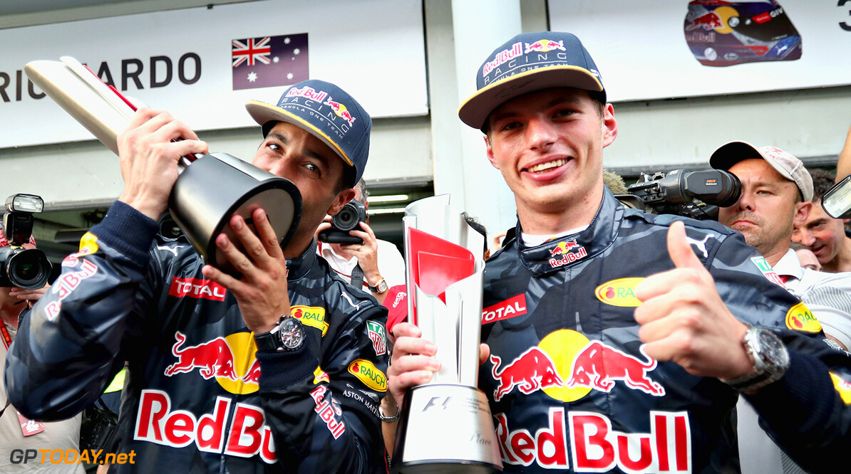 KUALA LUMPUR, MALAYSIA - OCTOBER 02:  Daniel Ricciardo of Australia and Red Bull Racing celebrates with Max Verstappen of Netherlands and Red Bull Racing after their 1-2 finish during the Malaysia Formula One Grand Prix at Sepang Circuit on October 2, 2016 in Kuala Lumpur, Malaysia.  (Photo by Mark Thompson/Getty Images) // Getty Images / Red Bull Content Pool  // P-20161002-01436 // Usage for editorial use only // Please go to www.redbullcontentpool.com for further information. //  F1 Grand Prix of Malaysia Mark Thompson Kuala Lumpur Malaysia  P-20161002-01436