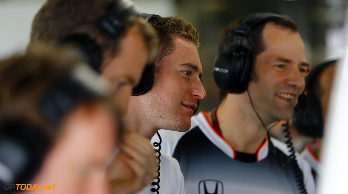 Stoffel Vandoorne, Test and Reserve Driver, McLaren, jokes with Ciaron Pilbeam, Chief Race Engineer, McLaren and colleaues.  Steven Tee