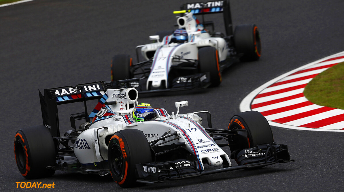 Sepang International Circuit, Sepang, Malaysia. Sunday 9 October 2016. Felipe Massa, Williams FW38 Mercedes, leads Valtteri Bottas, Williams FW38 Mercedes. Photo: Andrew Hone/Williams ref: Digital Image _ONZ5559      Action