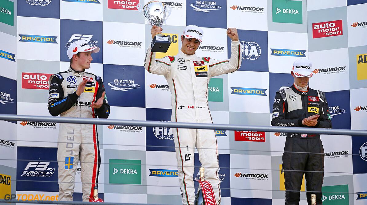FIA Formula 3 European Championship, round 10, race 2, Hockenhei Prize giving ceremony, 22 Joel Eriksson (SWE, Motopark, Dallara F312 - Volkswagen), 1 Lance Stroll (CAN, Prema Powerteam, Dallara F312 - Mercedes-Benz), 6 Callum Ilott (GBR, Van Amersfoort Racing, Dallara F312 - Mercedes-Benz), FIA Formula 3 European Championship, round 10, race 2, Hockenheimring (DEU), 14. - 16. October 2016 FIA Formula 3 European Championship 2016, round 10, race 2, Hockenheimring (DEU) Thomas Suer Hockenheim Germany