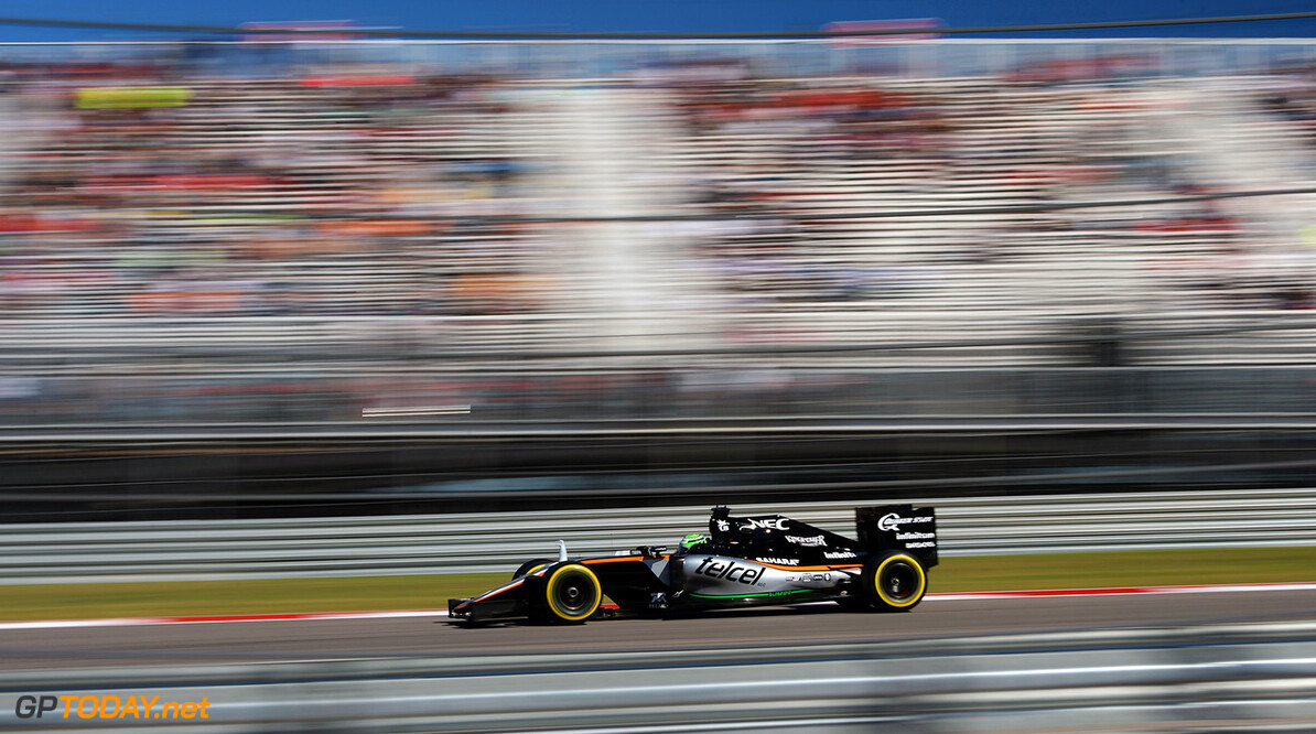 Formula One World Championship Nico Hulkenberg (GER) Sahara Force India F1 VJM09. United States Grand Prix, Friday 21st October 2016. Circuit of the Americas, Austin, Texas, USA. Motor Racing - Formula One World Championship - United States Grand Prix - Practice Day - Austin, USA James Moy Photography Austin USA  Formula One Formula 1 F1 GP Grand Prix Circuit USA American United States of America COTA Circuit of the Americas Austin Texas TX JM641 Hulkenberg H?lkenberg Huelkenberg Action Track GP1618b