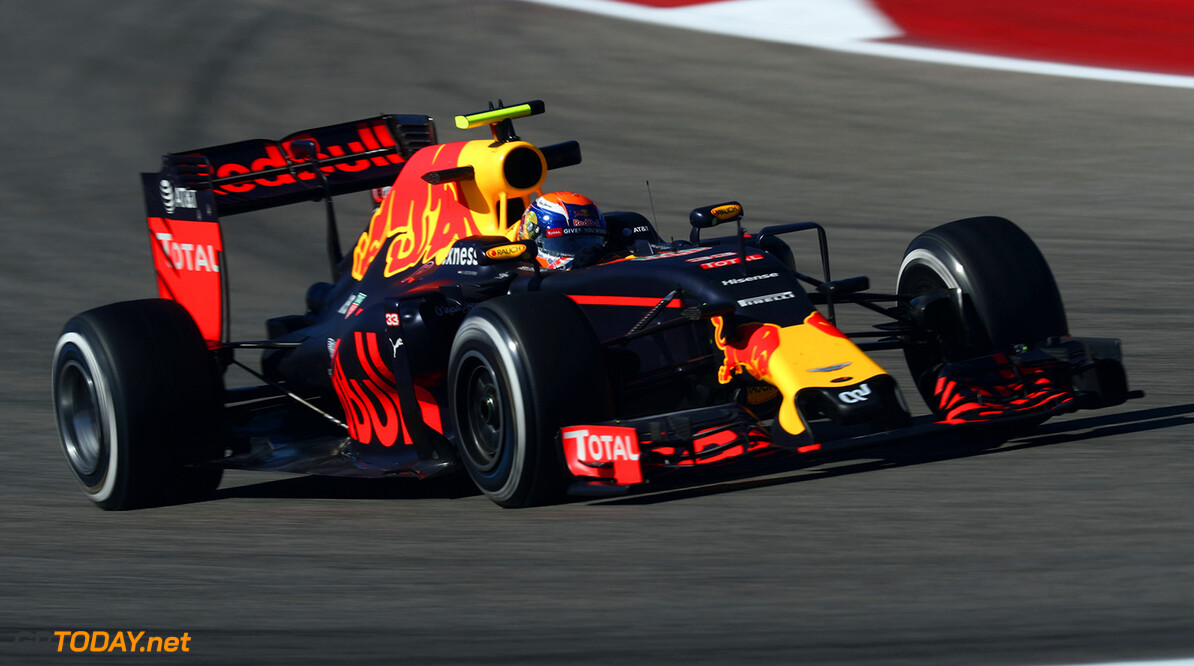 AUSTIN, TX - OCTOBER 21: Max Verstappen of the Netherlands driving the (33) Red Bull Racing Red Bull-TAG Heuer RB12 TAG Heuer on track during practice for the United States Formula One Grand Prix at Circuit of The Americas on October 21, 2016 in Austin, United States.  (Photo by Lars Baron/Getty Images) // Getty Images / Red Bull Content Pool  // P-20161021-01580 // Usage for editorial use only // Please go to www.redbullcontentpool.com for further information. //  F1 Grand Prix of USA - Practice Lars Baron Austin United States  P-20161021-01580