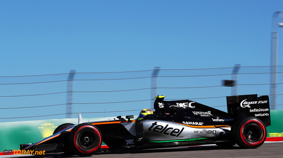 Formula One World Championship Sergio Perez (MEX) Sahara Force India F1 VJM09. United States Grand Prix, Friday 21st October 2016. Circuit of the Americas, Austin, Texas, USA. Motor Racing - Formula One World Championship - United States Grand Prix - Practice Day - Austin, USA James Moy Photography Austin USA  Formula One Formula 1 F1 GP Grand Prix Circuit USA American United States of America COTA Circuit of the Americas Austin Texas TX JM641 Sergio P?rez Sergio P?rez Mendoza Checo Perez Checo P?rez Action Track GP1618b