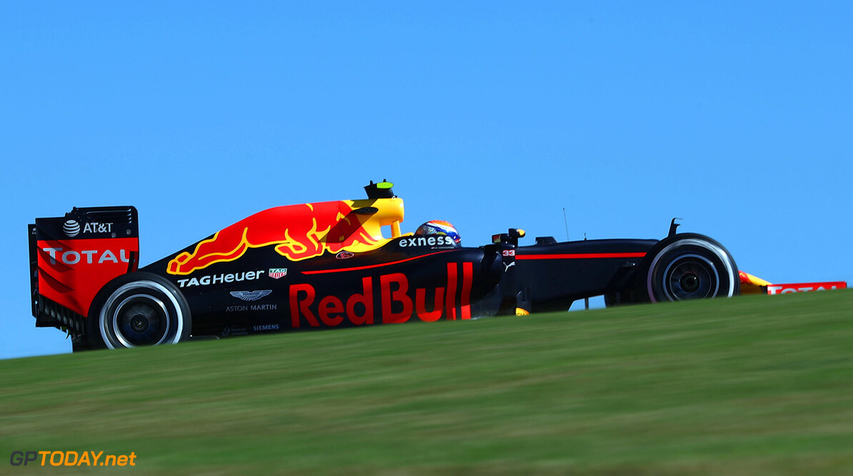 AUSTIN, TX - OCTOBER 21: Max Verstappen of the Netherlands driving the (33) Red Bull Racing Red Bull-TAG Heuer RB12 TAG Heuer on track during practice for the United States Formula One Grand Prix at Circuit of The Americas on October 21, 2016 in Austin, United States.  (Photo by Lars Baron/Getty Images) // Getty Images / Red Bull Content Pool  // P-20161021-01346 // Usage for editorial use only // Please go to www.redbullcontentpool.com for further information. //  F1 Grand Prix of USA - Practice Lars Baron Austin United States  P-20161021-01346