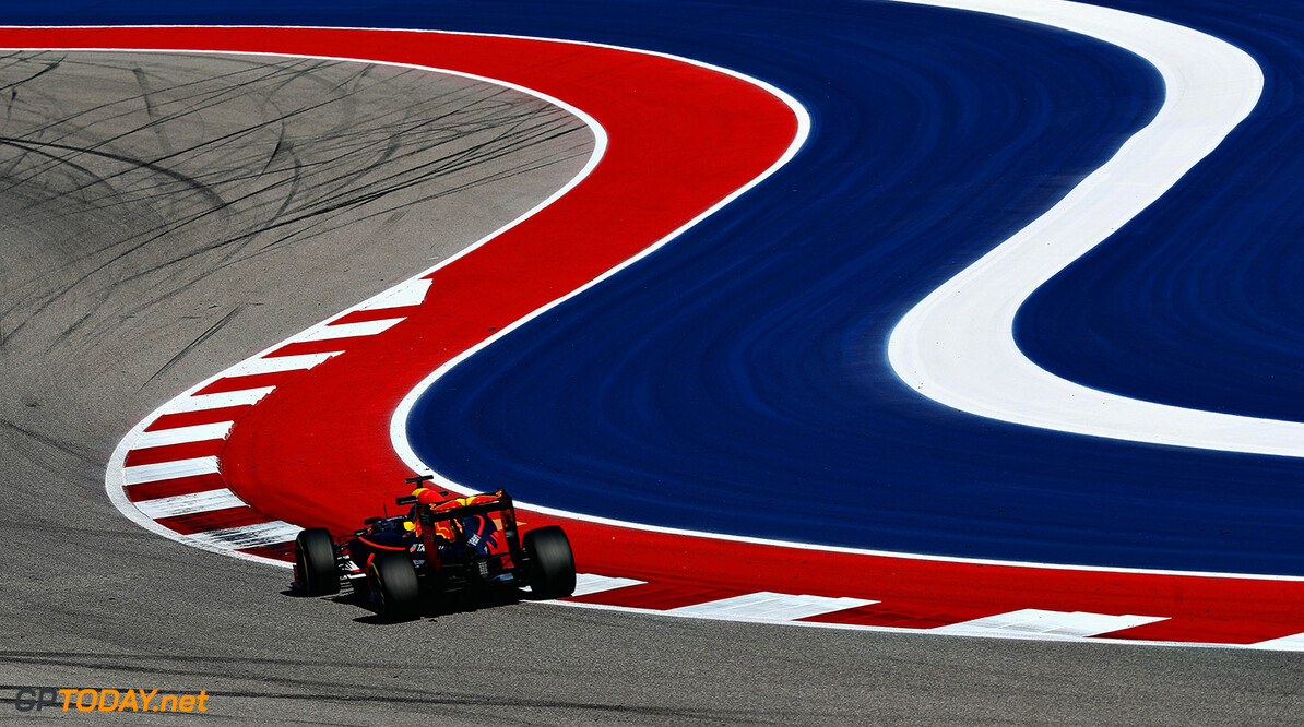 AUSTIN, TX - OCTOBER 21: Max Verstappen of the Netherlands driving the (33) Red Bull Racing Red Bull-TAG Heuer RB12 TAG Heuer on track during practice for the United States Formula One Grand Prix at Circuit of The Americas on October 21, 2016 in Austin, United States.  (Photo by Mark Thompson/Getty Images) // Getty Images / Red Bull Content Pool  // P-20161022-00294 // Usage for editorial use only // Please go to www.redbullcontentpool.com for further information. //  F1 Grand Prix of USA - Practice Mark Thompson Austin United States  P-20161022-00294