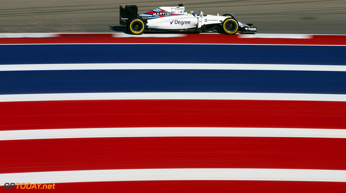 Circuit of the Americas, Austin Texas, USA. Friday 21 October 2016. Felipe Massa, Williams FW38 Mercedes. Photo: Andrew Hone/Williams ref: Digital Image _ONZ7087      Action