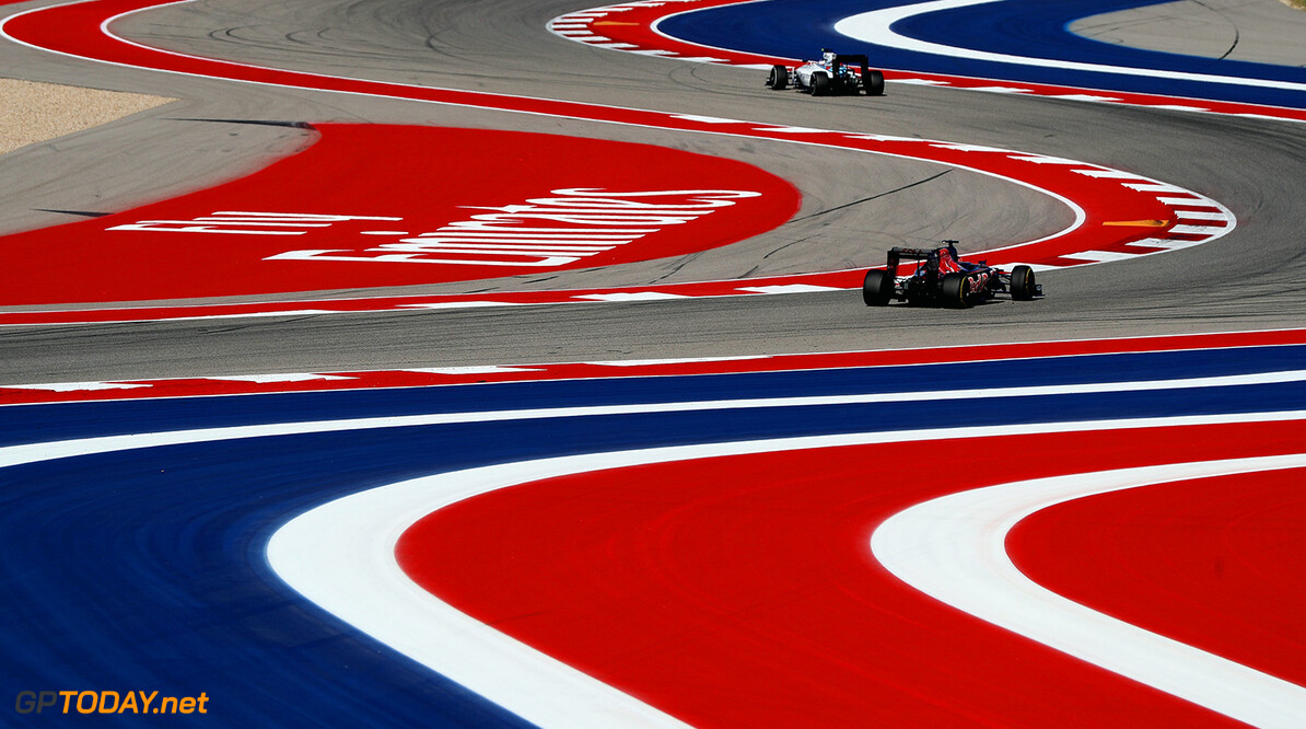 AUSTIN, TX - OCTOBER 21: Daniil Kvyat of Russia driving the (26) Scuderia Toro Rosso STR11 Ferrari 060/5 turbo follows Valtteri Bottas of Finland driving the (77) Williams Martini Racing Williams FW38 Mercedes PU106C Hybrid turbo on track  during practice for the United States Formula One Grand Prix at Circuit of The Americas on October 21, 2016 in Austin, United States.  (Photo by Mark Thompson/Getty Images) // Getty Images / Red Bull Content Pool  // P-20161021-02098 // Usage for editorial use only // Please go to www.redbullcontentpool.com for further information. //  F1 Grand Prix of USA - Practice Mark Thompson    P-20161021-02098
