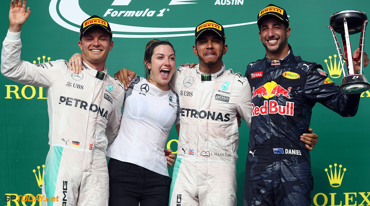 AUSTIN, TX - OCTOBER 23:  Top three finishers Lewis Hamilton of Great Britain and Mercedes GP, Nico Rosberg of Germany and Mercedes GP and Daniel Ricciardo of Australia and Red Bull Racing celebrate on the podium during the United States Formula One Grand Prix at Circuit of The Americas on October 23, 2016 in Austin, United States.  (Photo by Lars Baron/Getty Images) // Getty Images / Red Bull Content Pool  // P-20161023-01036 // Usage for editorial use only // Please go to www.redbullcontentpool.com for further information. //  F1 Grand Prix of USA Lars Baron Austin United States  P-20161023-01036