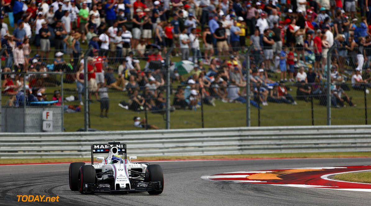 Circuit of the Americas, Austin Texas, USA. Sunday 23 October 2016. Felipe Massa, Williams FW38 Mercedes. Photo: Andrew Ferraro/Williams ref: Digital Image _FER1345      Action