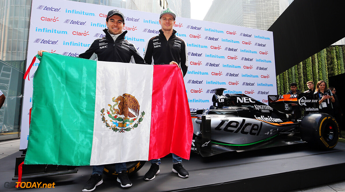 Formula One World Championship (L to R): Sergio Perez (MEX) Sahara Force India F1 and team mate Nico Hulkenberg (GER) Sahara Force India F1. Mexican Grand Prix, Wednesday 26th October 2016. Mexico City, Mexico. Motor Racing - Formula One World Championship - Mexican Grand Prix - Preparation Day - Mexico City, Mexico James Moy Photography Mexico City Mexico  Formula One Formula 1 F1 GP Grand Prix Circuit Mexico Mexican Mexico City Autodromo Hermanos GP1619a