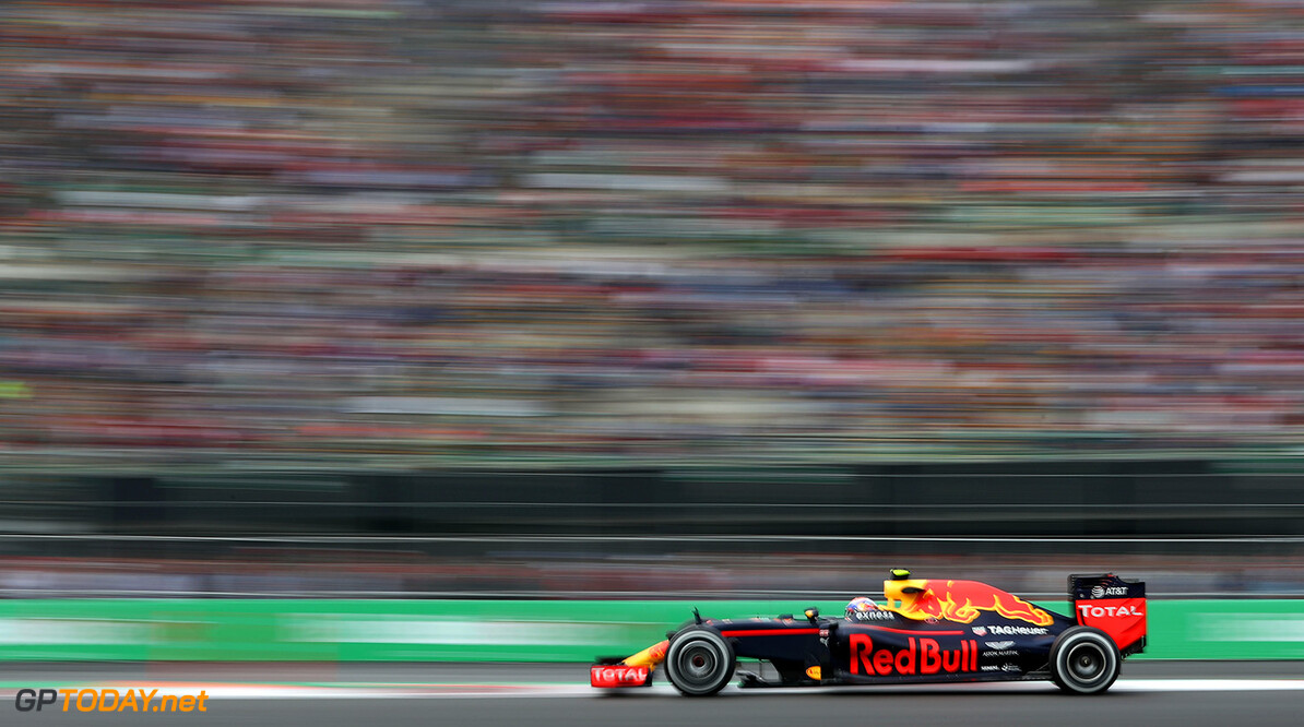 MEXICO CITY, MEXICO - OCTOBER 28:  Max Verstappen of the Netherlands driving the (33) Red Bull Racing Red Bull-TAG Heuer RB12 TAG Heuer on track during practice for the Formula One Grand Prix of Mexico at Autodromo Hermanos Rodriguez on October 28, 2016 in Mexico City, Mexico.  (Photo by Lars Baron/Getty Images) // Getty Images / Red Bull Content Pool  // P-20161028-01500 // Usage for editorial use only // Please go to www.redbullcontentpool.com for further information. //  F1 Grand Prix of Mexico - Practice Lars Baron    P-20161028-01500