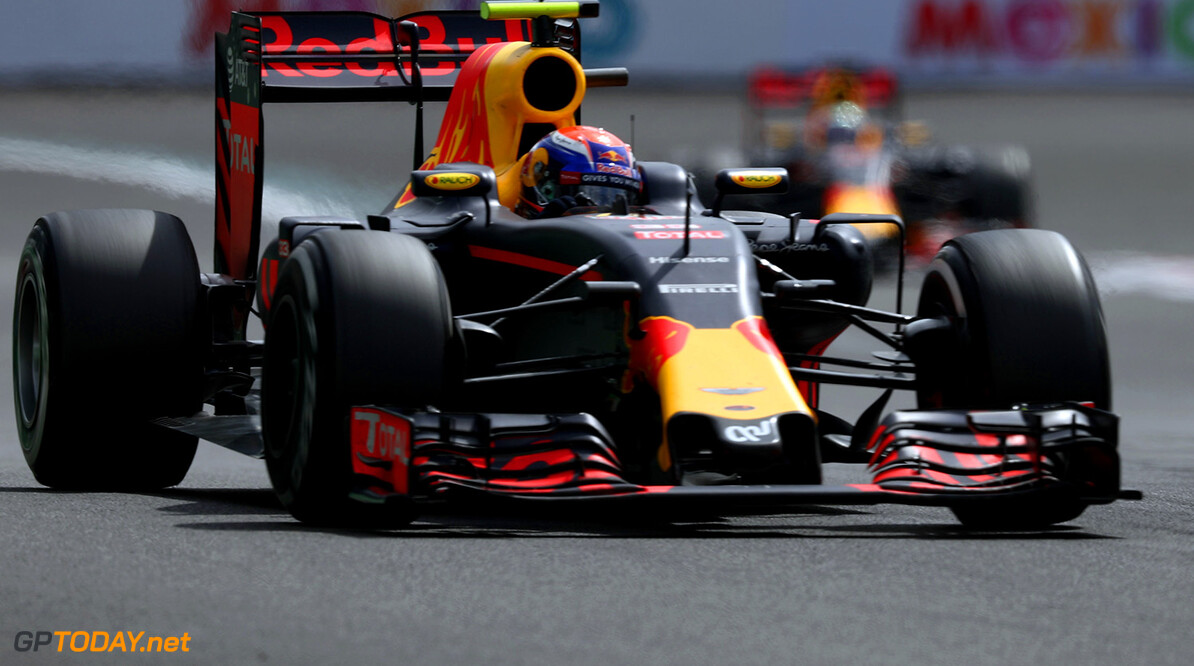 MEXICO CITY, MEXICO - OCTOBER 30:  Max Verstappen of the Netherlands driving the (33) Red Bull Racing Red Bull-TAG Heuer RB12 TAG Heuer leads Daniel Ricciardo of Australia driving the (3) Red Bull Racing Red Bull-TAG Heuer RB12 TAG Heuer on track during the Formula One Grand Prix of Mexico at Autodromo Hermanos Rodriguez on October 30, 2016 in Mexico City, Mexico.  (Photo by Lars Baron/Getty Images) // Getty Images / Red Bull Content Pool  // P-20161030-00598 // Usage for editorial use only // Please go to www.redbullcontentpool.com for further information. //  F1 Grand Prix of Mexico Lars Baron    P-20161030-00598