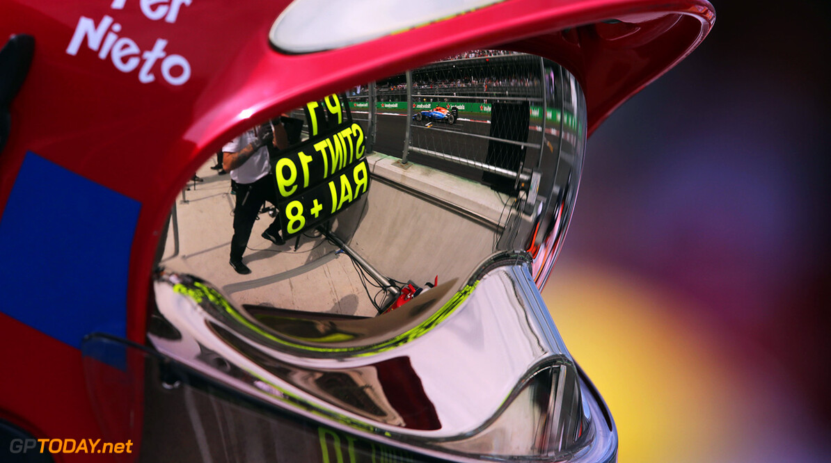 Formula One World Championship Esteban Ocon (FRA) Manor Racing MRT05 reflected in a fire marshal's visor. 30.10.2016. Formula 1 World Championship, Rd 19, Mexican Grand Prix, Mexico City, Mexico, Race Day. Motor Racing - Formula One World Championship - Mexican Grand Prix - Race Day - Mexico City, Mexico Manor Racing Mexico City Mexico  Formel1 Formel F1 Formula 1 Formula1 GP Grand Prix Mexico Mexico City Mexican Autodromo Hermanos Sunday October 30 10 2016 Marshal Marshals Marshall Marshalls Action Track