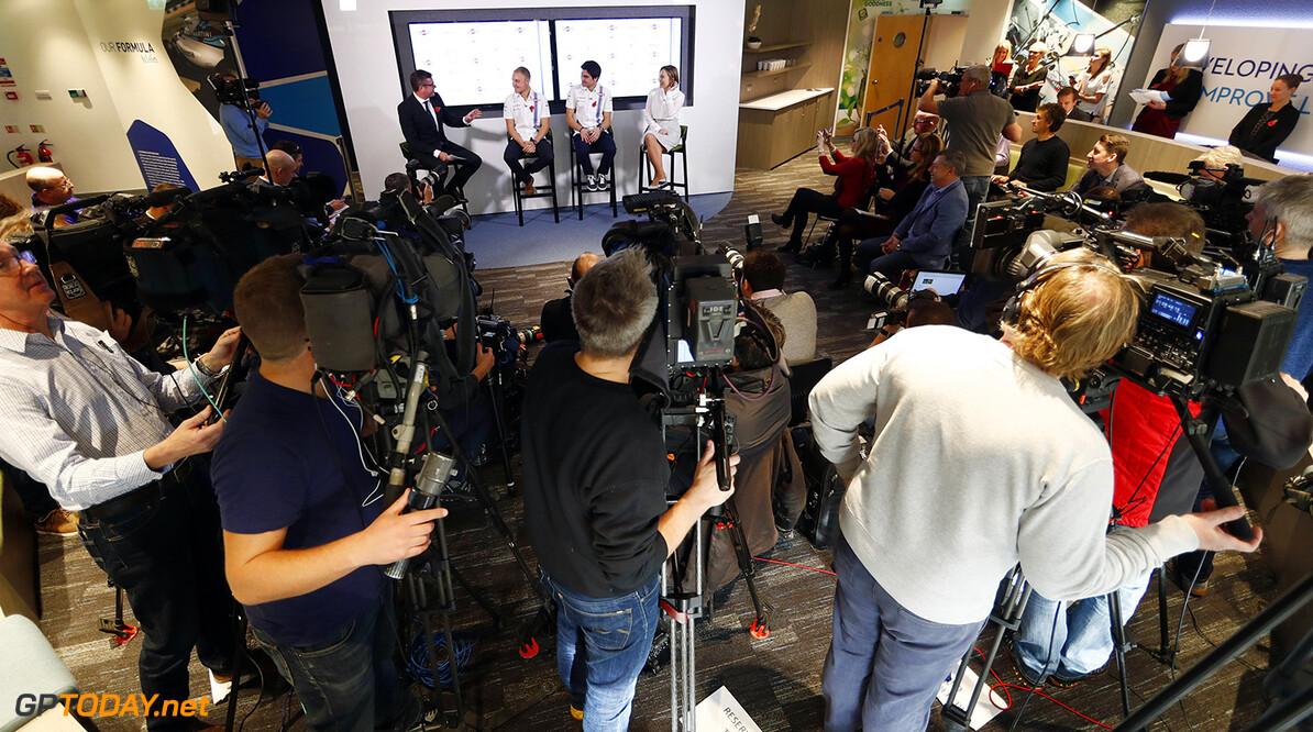 Williams F1 Factory, Grove, Oxfordshire. Thursday 03 November 2016. David Croft, Valtteri Bottas, Lance Stroll and Claire Williams on stage. Photo: Glenn Dunbar/Williams ref: Digital Image _X4I0267  Glenn Dunbar    TV media cameras