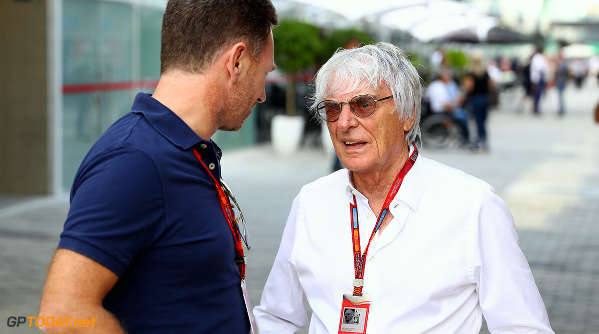 SAO PAULO, BRAZIL - NOVEMBER 10:  F1 supremo Bernie Ecclestone talks with Red Bull Racing Team Principal Christian Horner in the Paddock during previews for the Formula One Grand Prix of Brazil at Autodromo Jose Carlos Pace on November 10, 2016 in Sao Paulo, Brazil.  (Photo by Clive Mason/Getty Images) // Getty Images / Red Bull Content Pool  // P-20161110-01435 // Usage for editorial use only // Please go to www.redbullcontentpool.com for further information. //  F1 Grand Prix of Brazil - Previews Clive Mason Sao Paulo Brazil  P-20161110-01435