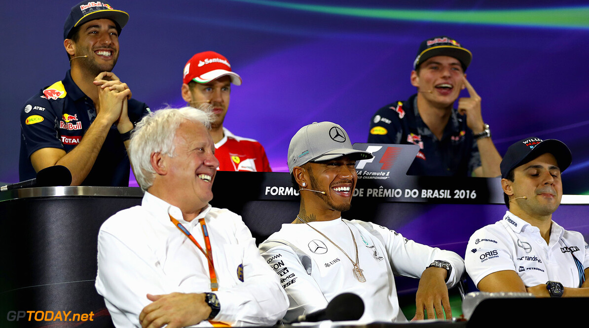 SAO PAULO, BRAZIL - NOVEMBER 10:  FIA Race Director, Charlie Whiting makes an appearance in the Drivers Press Conference featuring (back row, left to right) Daniel Ricciardo of Australia and Red Bull Racing, Sebastian Vettel of Germany and Ferrari, Max Verstappen of Netherlands and Red Bull Racing (front row, left to right) Lewis Hamilton of Great Britain and Mercedes GP, and Felipe Massa of Brazil during previews for the Formula One Grand Prix of Brazil at Autodromo Jose Carlos Pace on November 10, 2016 in Sao Paulo, Brazil.  (Photo by Clive Mason/Getty Images) // Getty Images / Red Bull Content Pool  // P-20161110-00857 // Usage for editorial use only // Please go to www.redbullcontentpool.com for further information. //  F1 Grand Prix of Brazil - Previews Clive Mason Sao Paulo Brazil  P-20161110-00857