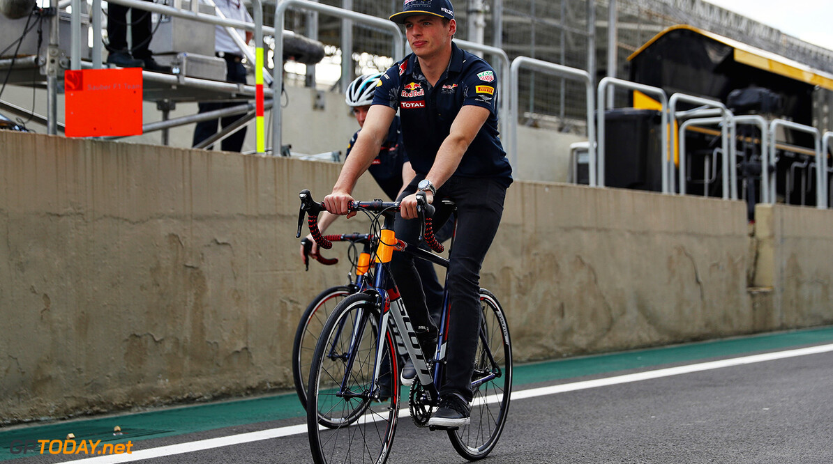SAO PAULO, BRAZIL - NOVEMBER 10:  Max Verstappen of Netherlands and Red Bull Racing rides a bike in the Pitlane during previews for the Formula One Grand Prix of Brazil at Autodromo Jose Carlos Pace on November 10, 2016 in Sao Paulo, Brazil.  (Photo by Clive Mason/Getty Images) // Getty Images / Red Bull Content Pool  // P-20161110-01631 // Usage for editorial use only // Please go to www.redbullcontentpool.com for further information. //  F1 Grand Prix of Brazil - Previews Clive Mason Sao Paulo Brazil  P-20161110-01631