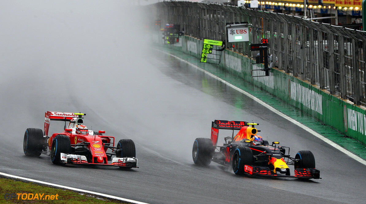 SAO PAULO, BRAZIL - NOVEMBER 13:  Max Verstappen of the Netherlands driving the (33) Red Bull Racing Red Bull-TAG Heuer RB12 TAG Heuer overtakes Kimi Raikkonen of Finland driving the (7) Scuderia Ferrari SF16-H Ferrari 059/5 turbo (Shell GP) on track during the Formula One Grand Prix of Brazil at Autodromo Jose Carlos Pace on November 13, 2016 in Sao Paulo, Brazil.  (Photo by Mark Thompson/Getty Images) // Getty Images / Red Bull Content Pool  // P-20161113-00857 // Usage for editorial use only // Please go to www.redbullcontentpool.com for further information. //  F1 Grand Prix of Brazil Mark Thompson Sao Paulo Brazil  P-20161113-00857