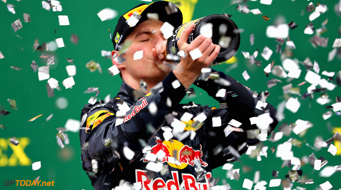 SAO PAULO, BRAZIL - NOVEMBER 13:  Max Verstappen of Netherlands and Red Bull Racing celebrates finishing in third place on the podium during the Formula One Grand Prix of Brazil at Autodromo Jose Carlos Pace on November 13, 2016 in Sao Paulo, Brazil.  (Photo by Mark Thompson/Getty Images) // Getty Images / Red Bull Content Pool  // P-20161113-01060 // Usage for editorial use only // Please go to www.redbullcontentpool.com for further information. //  F1 Grand Prix of Brazil Mark Thompson Sao Paulo Brazil  P-20161113-01060