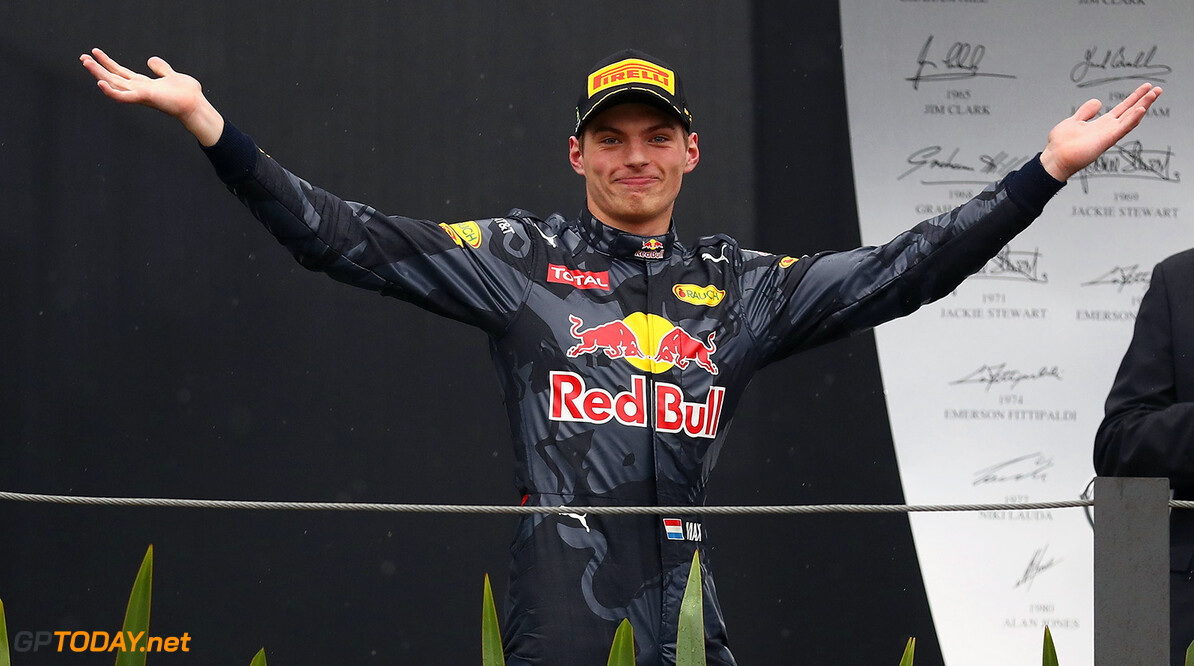 SAO PAULO, BRAZIL - NOVEMBER 13:  Max Verstappen of Netherlands and Red Bull Racing celebrates finishing in third position on the podium during the Formula One Grand Prix of Brazil at Autodromo Jose Carlos Pace on November 13, 2016 in Sao Paulo, Brazil.  (Photo by Clive Mason/Getty Images) // Getty Images / Red Bull Content Pool  // P-20161113-01150 // Usage for editorial use only // Please go to www.redbullcontentpool.com for further information. //  F1 Grand Prix of Brazil Clive Mason Sao Paulo Brazil  P-20161113-01150