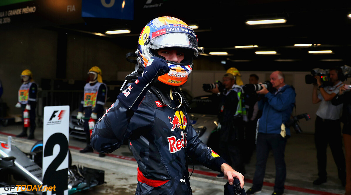 SAO PAULO, BRAZIL - NOVEMBER 13:  Max Verstappen of Netherlands and Red Bull Racing celebrates finishing in third position in parc ferme during the Formula One Grand Prix of Brazil at Autodromo Jose Carlos Pace on November 13, 2016 in Sao Paulo, Brazil.  (Photo by Mark Thompson/Getty Images) // Getty Images / Red Bull Content Pool  // P-20161113-01018 // Usage for editorial use only // Please go to www.redbullcontentpool.com for further information. //  F1 Grand Prix of Brazil Mark Thompson Sao Paulo Brazil  P-20161113-01018