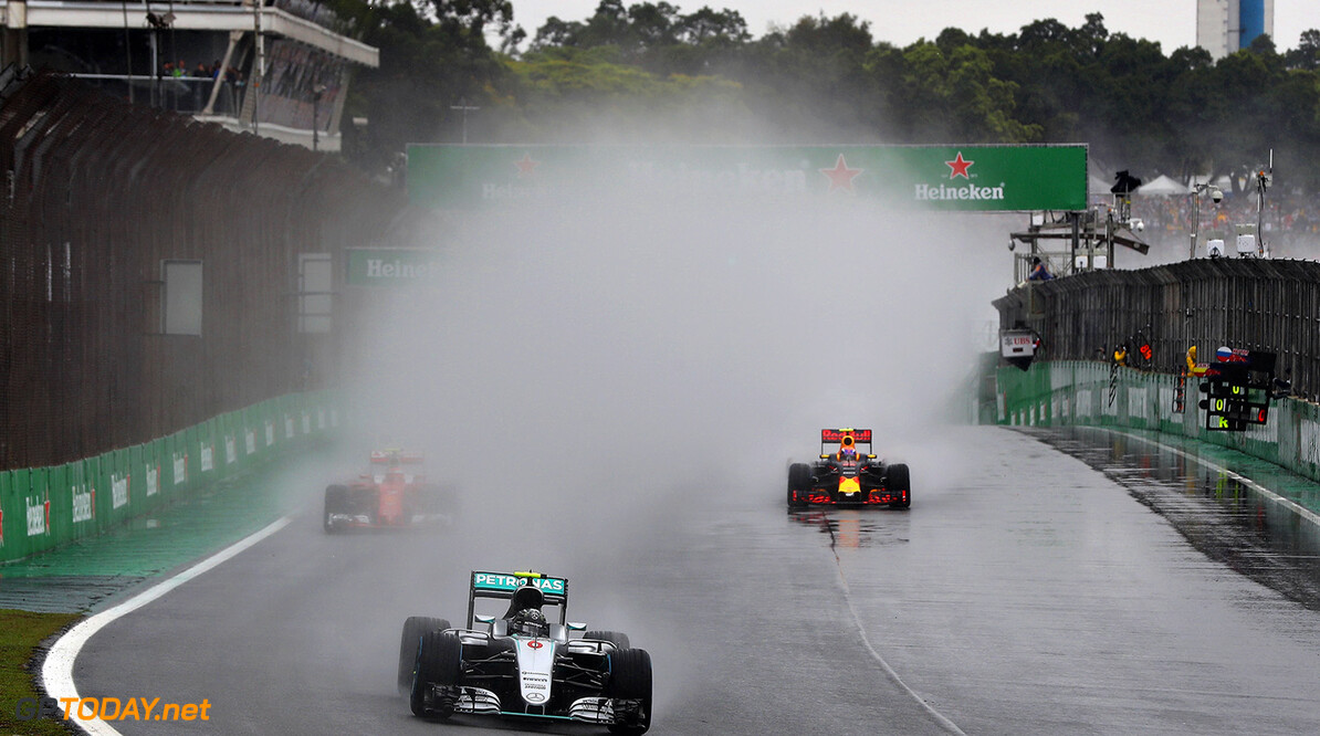 SAO PAULO, BRAZIL - NOVEMBER 13:  Nico Rosberg of Germany driving the (6) Mercedes AMG Petronas F1 Team Mercedes F1 WO7 Mercedes PU106C Hybrid turbo leads Kimi Raikkonen of Finland driving the (7) Scuderia Ferrari SF16-H Ferrari 059/5 turbo (Shell GP) and Max Verstappen of the Netherlands driving the (33) Red Bull Racing Red Bull-TAG Heuer RB12 TAG Heuer on track during the Formula One Grand Prix of Brazil at Autodromo Jose Carlos Pace on November 13, 2016 in Sao Paulo, Brazil.  (Photo by Mark Thompson/Getty Images) // Getty Images / Red Bull Content Pool  // P-20161113-00986 // Usage for editorial use only // Please go to www.redbullcontentpool.com for further information. //  F1 Grand Prix of Brazil Mark Thompson Sao Paulo Brazil  P-20161113-00986