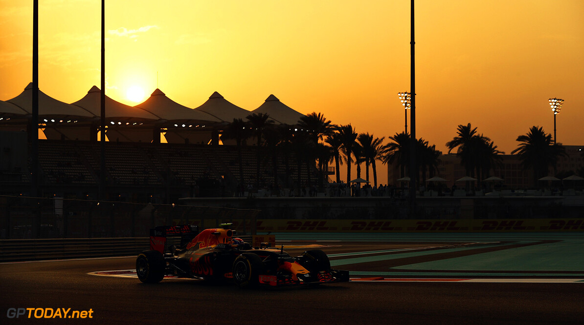 ABU DHABI, UNITED ARAB EMIRATES - NOVEMBER 25: Max Verstappen of the Netherlands driving the (33) Red Bull Racing Red Bull-TAG Heuer RB12 TAG Heuer on track  during practice for the Abu Dhabi Formula One Grand Prix at Yas Marina Circuit on November 25, 2016 in Abu Dhabi, United Arab Emirates.  (Photo by Mark Thompson/Getty Images) // Getty Images / Red Bull Content Pool  // P-20161125-01481 // Usage for editorial use only // Please go to www.redbullcontentpool.com for further information. //  F1 Grand Prix of Abu Dhabi - Practice Mark Thompson Abu Dhabi United Arab Emirates  P-20161125-01481