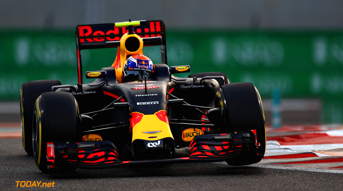 ABU DHABI, UNITED ARAB EMIRATES - NOVEMBER 25: Max Verstappen of the Netherlands driving the (33) Red Bull Racing Red Bull-TAG Heuer RB12 TAG Heuer on track  during practice for the Abu Dhabi Formula One Grand Prix at Yas Marina Circuit on November 25, 2016 in Abu Dhabi, United Arab Emirates.  (Photo by Lars Baron/Getty Images) // Getty Images / Red Bull Content Pool  // P-20161125-01099 // Usage for editorial use only // Please go to www.redbullcontentpool.com for further information. //  F1 Grand Prix of Abu Dhabi - Practice Lars Baron Abu Dhabi United Arab Emirates  P-20161125-01099