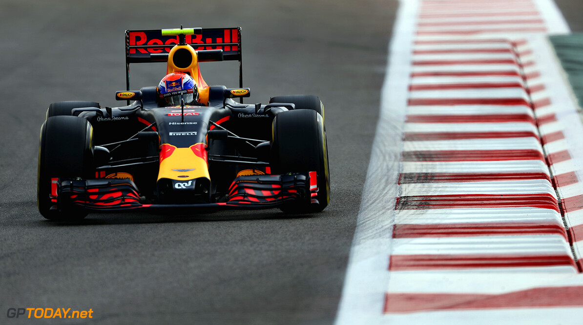 ABU DHABI, UNITED ARAB EMIRATES - NOVEMBER 25: Max Verstappen of the Netherlands driving the (33) Red Bull Racing Red Bull-TAG Heuer RB12 TAG Heuer on track  during practice for the Abu Dhabi Formula One Grand Prix at Yas Marina Circuit on November 25, 2016 in Abu Dhabi, United Arab Emirates.  (Photo by Lars Baron/Getty Images) // Getty Images / Red Bull Content Pool  // P-20161125-00475 // Usage for editorial use only // Please go to www.redbullcontentpool.com for further information. //  F1 Grand Prix of Abu Dhabi - Practice Lars Baron Abu Dhabi United Arab Emirates  P-20161125-00475