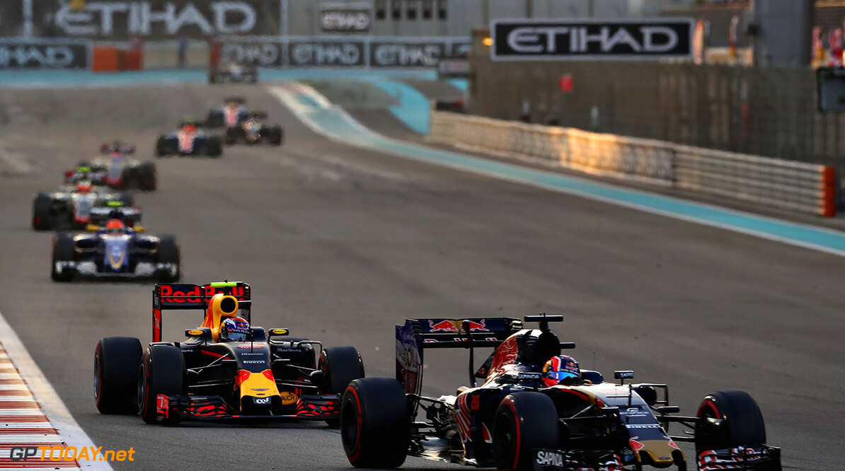 ABU DHABI, UNITED ARAB EMIRATES - NOVEMBER 27: Daniil Kvyat of Russia driving the (26) Scuderia Toro Rosso STR11 Ferrari 060/5 turbo leads Max Verstappen of the Netherlands driving the (33) Red Bull Racing Red Bull-TAG Heuer RB12 TAG Heuer on track  during the Abu Dhabi Formula One Grand Prix at Yas Marina Circuit on November 27, 2016 in Abu Dhabi, United Arab Emirates.  (Photo by Mark Thompson/Getty Images) // Getty Images / Red Bull Content Pool  // P-20161127-00615 // Usage for editorial use only // Please go to www.redbullcontentpool.com for further information. //  F1 Grand Prix of Abu Dhabi Mark Thompson Abu Dhabi United Arab Emirates  P-20161127-00615