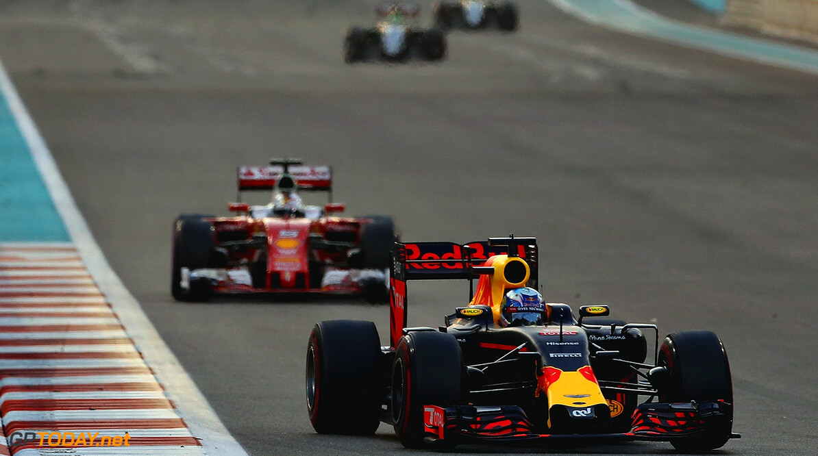 ABU DHABI, UNITED ARAB EMIRATES - NOVEMBER 27: Daniel Ricciardo of Australia driving the (3) Red Bull Racing Red Bull-TAG Heuer RB12 TAG Heuer leads Sebastian Vettel of Germany driving the (5) Scuderia Ferrari SF16-H Ferrari 059/5 turbo (Shell GP) on track  during the Abu Dhabi Formula One Grand Prix at Yas Marina Circuit on November 27, 2016 in Abu Dhabi, United Arab Emirates.  (Photo by Mark Thompson/Getty Images) // Getty Images / Red Bull Content Pool  // P-20161127-00298 // Usage for editorial use only // Please go to www.redbullcontentpool.com for further information. //  F1 Grand Prix of Abu Dhabi Mark Thompson Abu Dhabi United Arab Emirates  P-20161127-00298