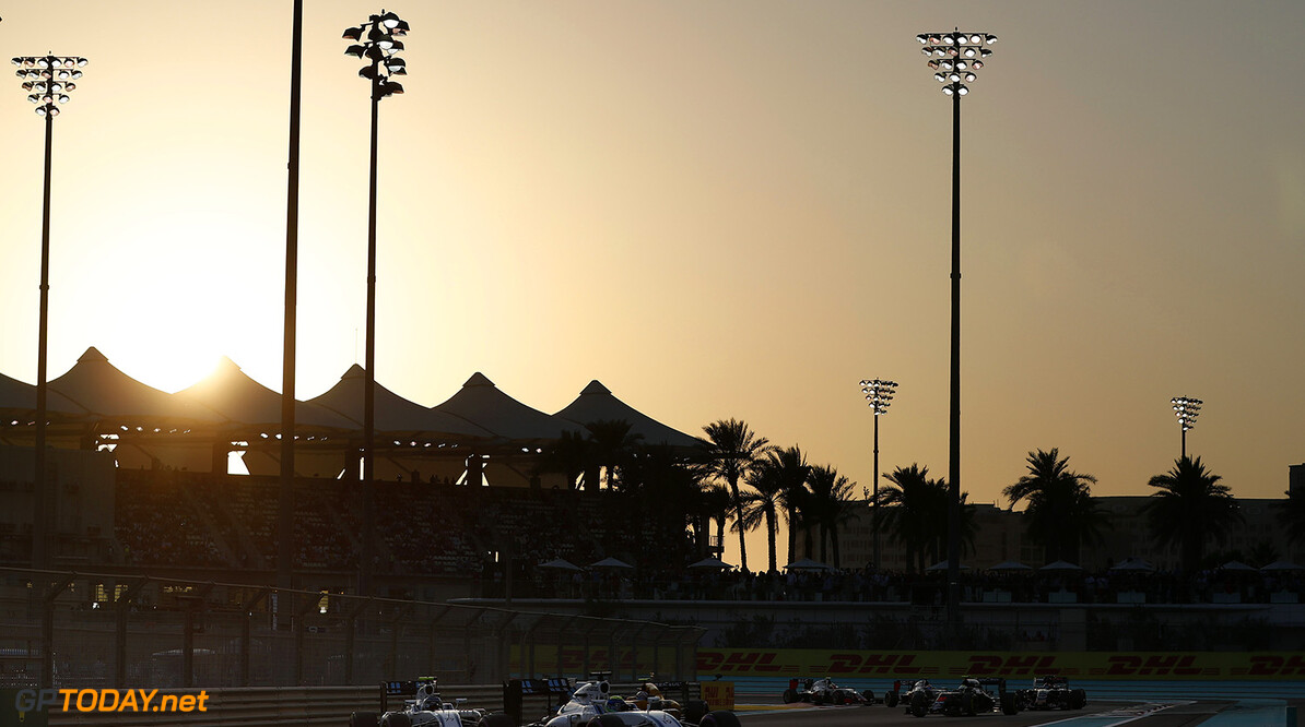 Yas Marina Circuit, Abu Dhabi, United Arab Emirates. Sunday 27 November 2016. Felipe Massa, Williams FW38 Mercedes, leads Valtteri Bottas, Williams FW38 Mercedes. Photo: Glenn Dunbar/Williams ref: Digital Image _X4I4675  Glenn Dunbar    Action