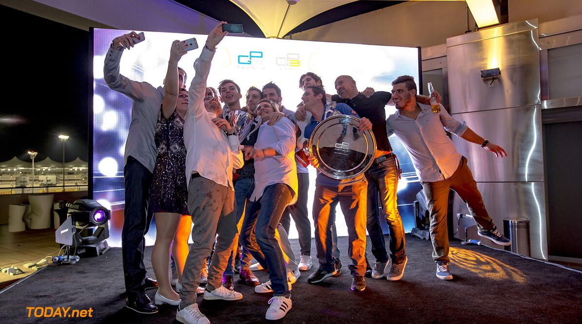2016 GP2/3 Awards Evening. Yas Marina Circuit, Abu Dhabi, United Arab Emirates. Sunday 27 November 2016. Pierre Gasly (FRA, PREMA Racing), Antonio Giovinazzi (ITA, PREMA Racing)  Photo: Zak Mauger/GP2 Series Media Service/GP3 Series Media Service. ref: Digital Image _L0U2140   Zak Mauger    awards