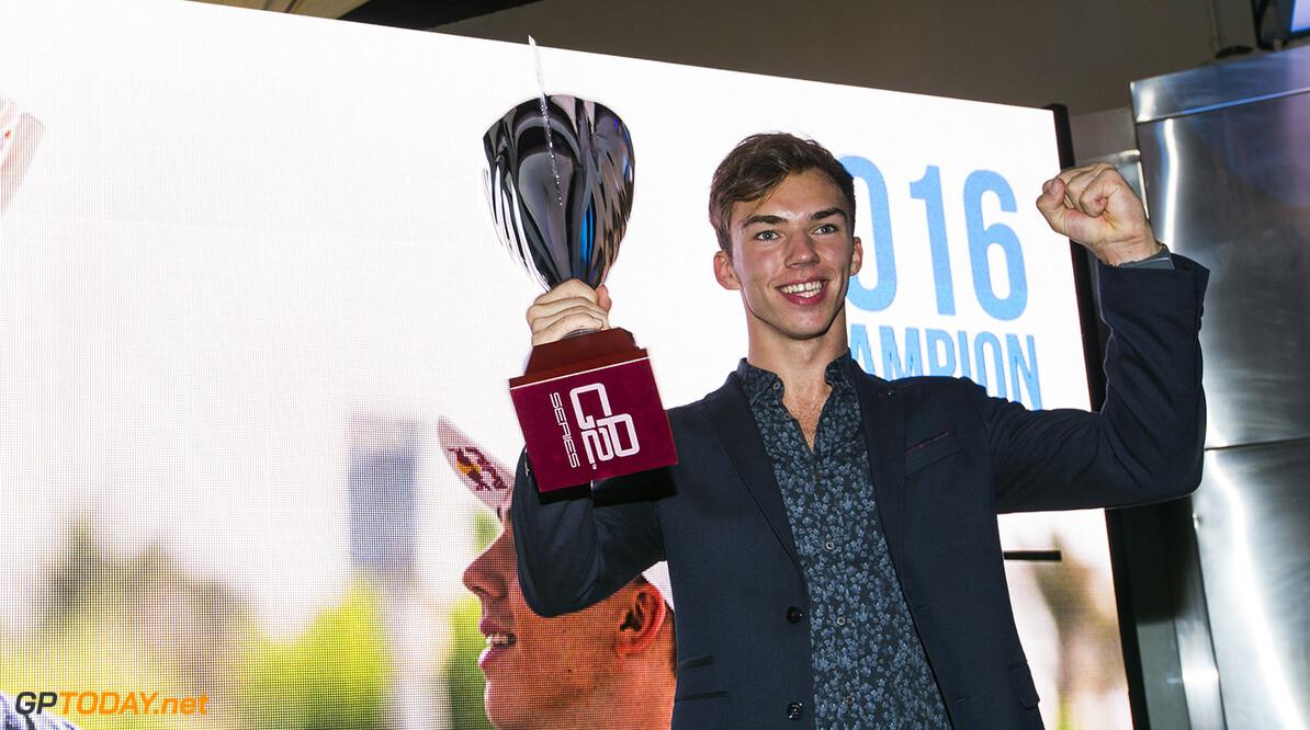 2016 GP2/3 Awards Evening. Yas Marina Circuit, Abu Dhabi, United Arab Emirates. Sunday 27 November 2016. Pierre Gasly (FRA, PREMA Racing)  Photo: Sam Bloxham/GP2 Series Media Service/GP3 Series Media Service. ref: Digital Image _SLA9888   Sam Bloxham    awards