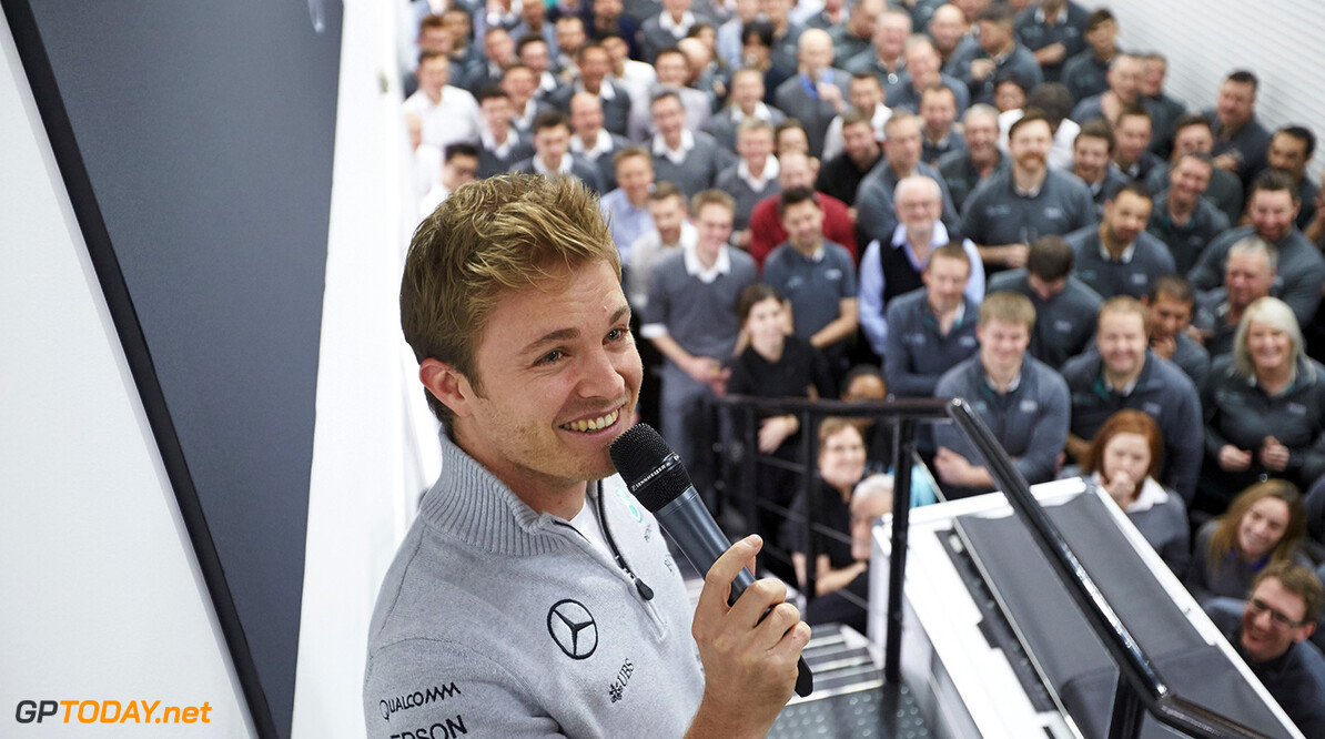 Archivnummer: M52844  Nico Rosberg Celebrates 2016 World Drivers' Championship Title at Brackley