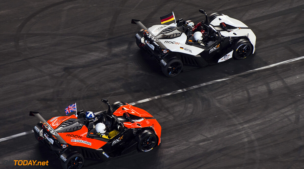 2017 Race of Champions, Marlins Park, Miami, USA Team Germany Sebastian Vettel (GER) leads Team Great Britain David Coulthard (GBR) driving the KTM X-Bow Comp R on track during the ROC Nations Cup on Sunday 22 January 2017 at Marlins Park, Miami, Florida, USA      action